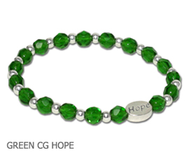 Kidney Disease Awareness bracelet with faceted green glass beads and sterling silver Hope bead