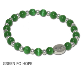 Mental Health Awareness bracelet with gray Cat's Eye beads and sterling silver Hope bead