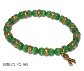 Kidney Cancer Awareness bracelets with round green beads and antique gold Awareness ribbon
