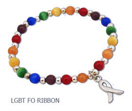 LGBT rainbow pride stretch awareness bracelet with pewter awareness ribbon