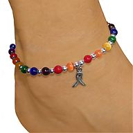 LGBT  pride rainbow anklet with pewter awareness ribbon