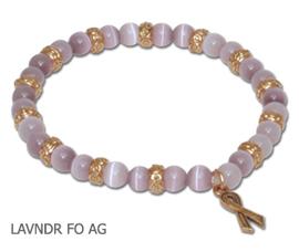 Hodgkin's Lymphoma Awareness bracelet lavender round beads and antique gold Awareness ribbon