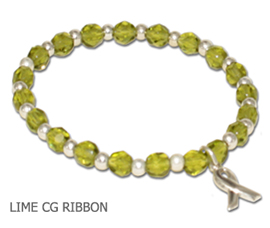 Lymphoma Awareness bracelet with faceted lime beads and sterling silver awareness ribbon