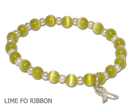 Lymphoma awareness bracelet with round lime beads and sterling silver awareness ribbon