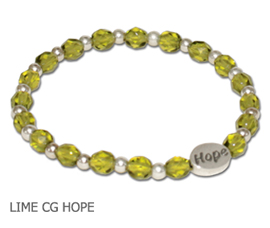 Lyme Disease Awareness bracelet with Lime green glass beads and sterling silver Hope bead