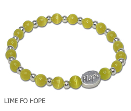 Lyme Disease awareness bracelet with round lime beads and sterling silver Hope bead