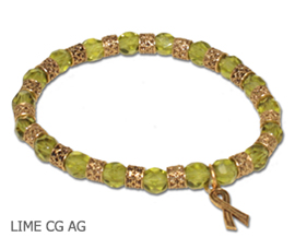 Muscular Dystrophy Awareness bracelet with faceted lime beads and antique gold Awareness ribbon
