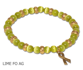 Muscular Dystrophy Awareness bracelet with round lime beads and antique gold Awareness ribbon