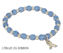 Prostate Cancer Awareness bracelet with faceted light blue beads and sterling silver awareness ribbon