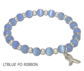 Prostate Cancer Awareness bracelet with light blue fiber optic beads and sterling silver awareness ribbon