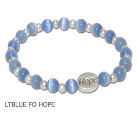 Lymphedema Awareness bracelet with faceted light blue beads and sterling silver Hope bead