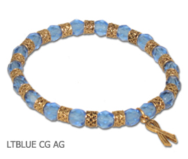 Thyroid Cancer Awareness bracelet with faceted light blue beads and antique gold Awareness ribbon