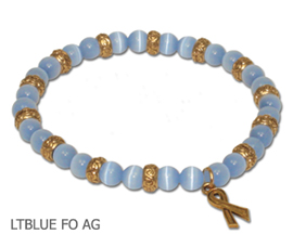 Thyroid Cancer Awareness bracelet with light blue beads and antique gold Awareness ribbon