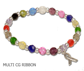 Cancer awareness bracelet with multi-colored Czech glass and sterling silver awareness ribbon