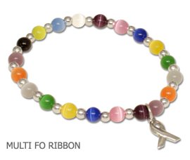 Cancer awareness bracelet with multi-colored beads and sterling silver awareness ribbon