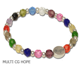 Cancer awareness bracelet with multi-colored Czech glass and sterling silver Hope bead