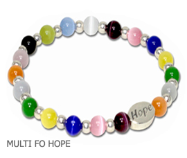 Multiple Cancer awareness bracelet with multi-colored beads and sterling silver Hope bead