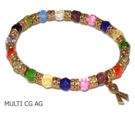 Cancer awareness bracelet with multi-colored Czech glass and antique gold pewter Awareness ribbon