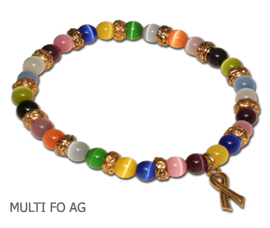 Many Cancers awareness bracelet with multi-colored beads and antique gold Awareness ribbon