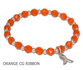 Leukemia Awareness bracelet with orange Czech glass and sterling silver awareness ribbon