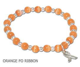 Multiple Sclerosis Awareness bracelet with round orange beads and sterling silver awareness ribbon