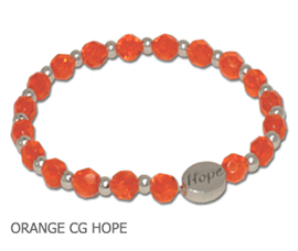 Multiple Sclerosis Awareness bracelet faceted orange beads and sterling silver Hope bead