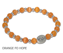 Leukemia Awareness bracelet with orange fiber optic beads and sterling silver Hope bead