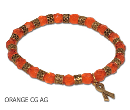 Leukemia Awareness bracelet with faceted orange beads and antique gold Awareness ribbon