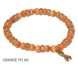 Multiple Sclerosis Awareness bracelet round orange beads and antique gold Awareness ribbon