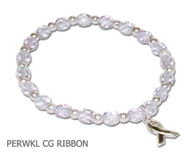 Esophageal Cancer Awareness bracelet with periwinkle beads and sterling silver awareness ribbon