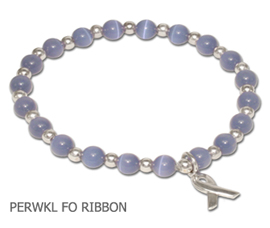Stomach Cancer Awareness bracelet with periwinkle beads and sterling silver awareness ribbon