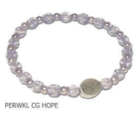 Stomach Cancer Awareness bracelet with periwinkle beads and sterling silver Hope bead