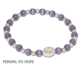 Esophageal Cancer Awareness bracelet with periwinkle beads and sterling silver Hope bead