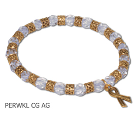 Esophageal Cancer Awareness bracelet with periwinkle beads and antique gold Awareness ribbon