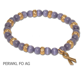 Stomach Cancer Awareness bracelet with periwinkle beads and antique gold Awareness ribbon