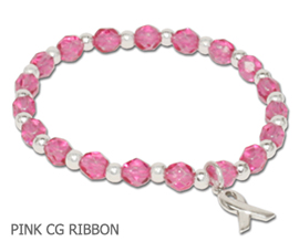 Breast Cancer Awareness bracelet faceted pink beads and sterling silver awareness ribbon