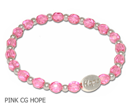 Breast Cancer Awareness bracelet with opaque pink and white fiber optic beads with sterling silver awareness ribbon
