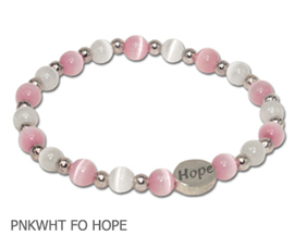Breast Cancer Awareness bracelet with pink and white fiber optic beads with silver Hope bead