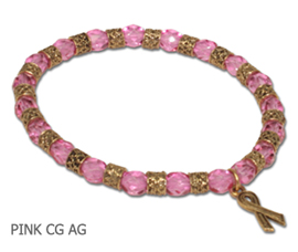 Gold Breast Cancer Awareness bracelet with faceted pink beads and gold Awareness ribbon