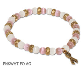 Gold Breast Cancer Awareness bracelet with pink and white fiber optic beads with antique gold Awareness ribbon