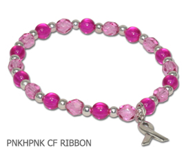 Inflammatory Breast Cancer awareness bracelet with hot pink and pink glass beads and sterling silver awareness ribbon