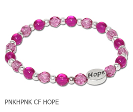 Inflammatory Breast Cancer awareness bracelet with hot pink and pink glass beads and sterling silver Hope bead
