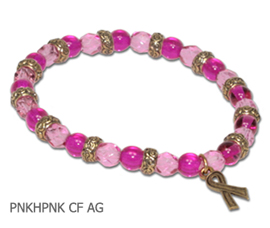 Inflammatory Breast Cancer awareness bracelet with hot pink and pink glass beads and antique gold Awareness ribbon