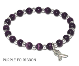 Crohn's Disease Awareness bracelet with round purple beads and sterling silver awareness ribbon