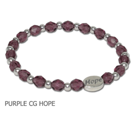 Alzheimer's Awareness bracelet with faceted purple beads and sterling silver Hope bead