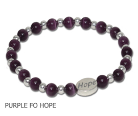 Domestic Violence Awareness bracelet purple fiber optic beads and sterling silver Hope bead