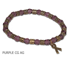 Cystic Fibrosis Awareness bracelet with faceted purple beads and antique gold Awareness ribbon