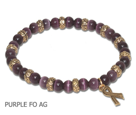 Lupus Awareness bracelet with round purple beads and antique gold Awareness ribbon