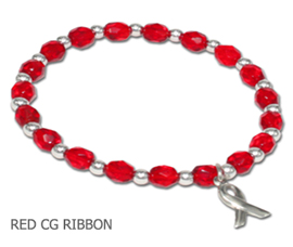 Heart Disease Awareness bracelet opaque round red beads and sterling silver awareness ribbon