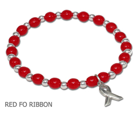 Heart Disease Awareness bracelet with opaque red glass beads with sterling silver awareness ribbon